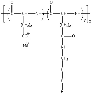 Poly(L-glutamic acid sodium salt)-graft-(N-propargyl) Structure