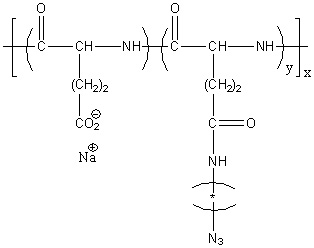 Poly(L-glutamic acid sodium salt)-graft-(N-azidoalkyl) Structure