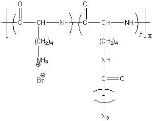 Poly(L-lysine hydrobromide)-graft-(azidoamide) Structure